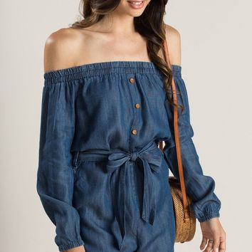 Grace Denim Off the Shoulder Romper