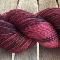 Hand Dyed Yarn - Burgundy Black OOAK- Superwash Merino Wool, 4 ply Fingering/Sock Weight Yarn 100gr