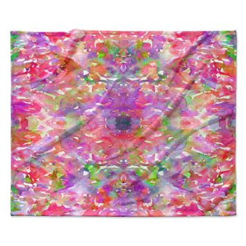 "Ebi Emporium ""Jewel In The Crown, Coral "" Pink Purple Fleece Throw Blanket"