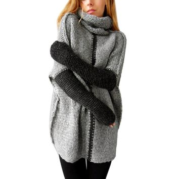 Women Winter Sweaters Warm  Turtleneck Long Sleeve Women Sweater Patchwork Knitted Outwear
