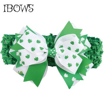 Kids St. Patrick's Day Headbands Printed Green Shamrock Hair Bows Clover Stacked Hairband Boutique Girls Hair Accessories