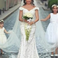 [158.99] Romantic Lace & Satin Off-the-shoulder Neckline Mermaid Wedding Dresses With 3D Handmade Flowers - dressilyme.com