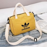 Adidas Fashion New Letter Leaf Print Canvas Shopping Leisure Shoulder Bag Handbag Women Yellow