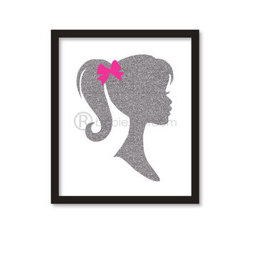 Nursery art -Glitter Vintage Barbie silhouette - Sparking Silhouette of princess- girl room decor -