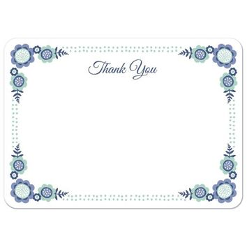 Blue bloom flat thank you note card with cute flower corner and dot border