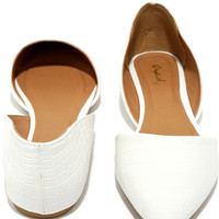 Cute Company White Croc Pointed Flats