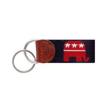 Republican Needlepoint Key Fob in Navy Blue by Smathers & Branson