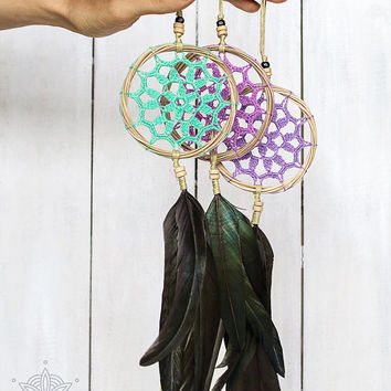"Dream catcher with lilac doily 3"", Crochet boho wall decor with handmade lace and black feathers, Small dreamcatcher, Unique car hanging"