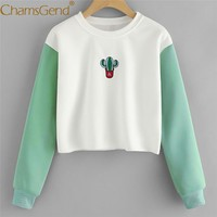 Cactus Pattern Crop Top Sweatshirt