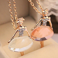 Women's 18K Gold Plated Chain Shiny Crystal Ballet Girl Pendant Necklace Statement Long Jewelry