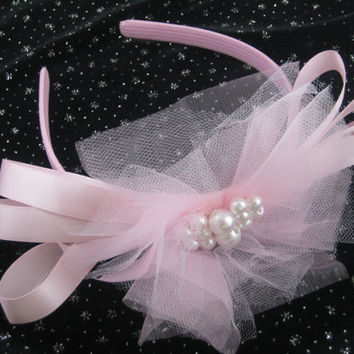 Headband Handmade Toddler Children, Pink Tulle Flower and Ribbons with Pearl Center, Dressy or Casual