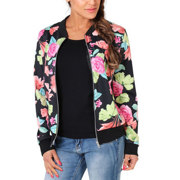 Black PlusSize Zipped Floral Print Jacket