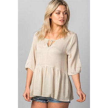 Ladies fashion 3/4 sleeve w/o'ring at front babydoll top