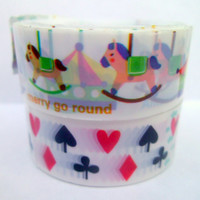 Kawaii Deco Tape Carousel Horses and Card Suits 2 Pieces