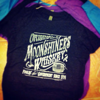 Original Moonshiner Whiskey Moonshine Alternative Eco-Jersey Slouchy Off the Shoulder Pullover Valentine's Day Gift for Her