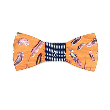 Funcio - Novelty Feathers Design Wood, Pattern Knot, Bow Tie