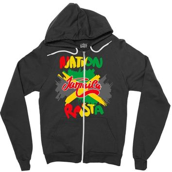 rasta nation, the reggae and dancehall Zipper Hoodie