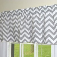 Appleberry Attic Window Valance Chevron, Grey