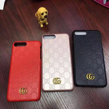 Gucci Fashion Personality Leather iPhone Phone Cover Case For iphone 6 6s 6plus 6s-plus 7 7plus