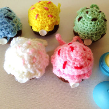 Cupcake EOS Lip Balm Cozy/Holder with Split Ring and Lobster Clasp - Choose Your Flavor