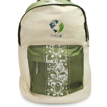 Mato Canvas Backpack Floral Pattern Laptop Shoulder bag Green Beige Day-pack