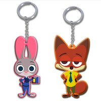 2016 Newest Zootopia Keychains PVC Figures Nick Wilde Judy Hopps Keyrings Gifts
