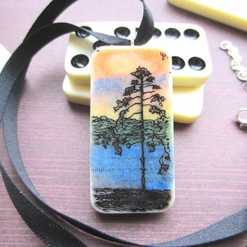 Sunset Stamped Domino Necklace, Domino Pendant, Upcycled Necklace, Sunset Pendant, Gift for Her, Colourful Necklace, Handmade Necklace