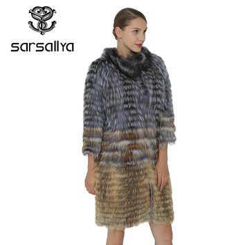 SARSALLYA Vest Female Fox Fur Coat Genuine Silver Fox Vest Women Clothing Winter Women Vest Real Fur Outerwear Mink Coat