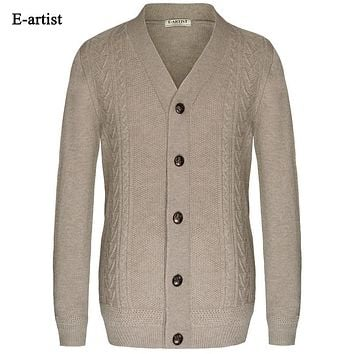 New Autumn Men Knitted Sweaters Male Winter Cardigans Button Knitwear Slim Fit Casual Sweater Coats