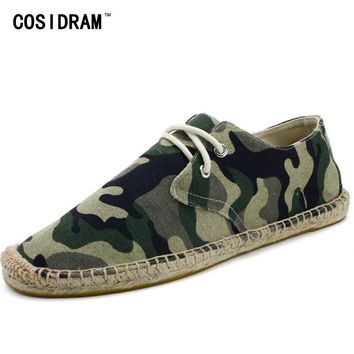 COSIDRAM Camouflage Fisherman Shoes New 2017 AAA Men Casual Shoes Canvas Male Flats Leisure Espadrille Plimsolls RMC-858