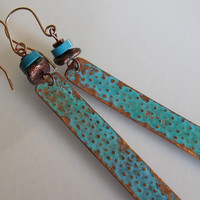 Antiqued Bohemian Earrings Green Verdigris Patina by OxArtJewelry