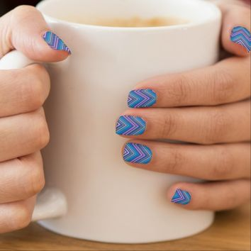 Periwinkle Blue & Pink Chevron Pattern Nail Art Stickers Decals- Full manicure set! Cute nail decals, girly nail decals,colorful nail art