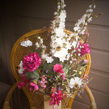 Floral arrangement, peonies, cone flowers and more in shabby / cottage chic style. Large centerpiece, perfect way to inhance any home.