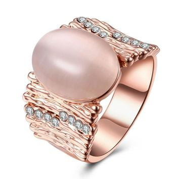 Vintage Engagement Ring for Women Silver/Rose Gold-Color Big Opal Stone Wide Ring Wedding Jewelry