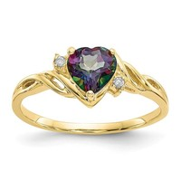 10k Yellow Gold Heart Mystic Fire Topaz And .01ct Diamond Ring