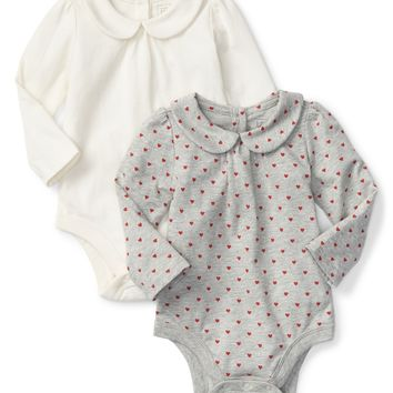 Heart peter pan collar bodysuit (2-pack) | Gap