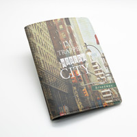 Passport Holder Case Travel Wallet PU Leather Cover -- Modern city street view (E28)