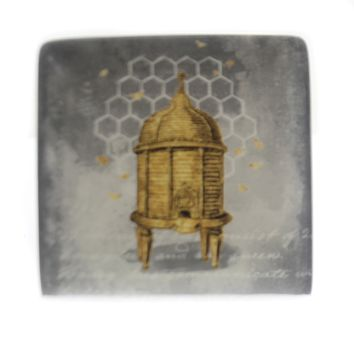 Tabletop BEE SQUARE PLATE Ceramic Hive Insect Jewelry Holder Da5200 Comb