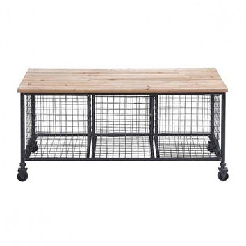 Industrial Rolling Bench with Wire Baskets