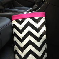Car Trash Bag CHEVRON BLACK/White, Women, Car Litter Bag, Auto Accessories, Auto Bag, Car Organizer