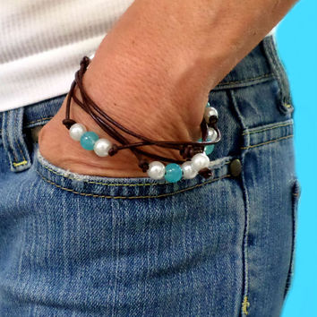 Leather, Pearl and Sea Blue Bead Bracelet / Necklace - 1 Long Strand - Pearl and Leather Jewelry Collection, gift