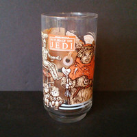 Vintage Star Wars Return of the Jedi Ewok Village Glass Burger King Lucas Films 1983