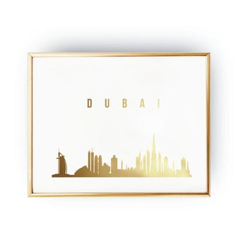 Dubai Print, Dubai Skyline, Dubai Cityscape, Skyline Art, Real Gold Foil Print,  Home Decor, Wall Art, Skyline Poster, Dubai Art, 8x10 print