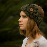 Ear Warmer Headband with Flower, Wood Button, Olive Green Crochet Headband
