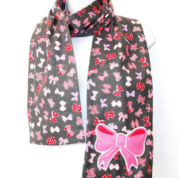 Cute Pink Bow Scarf, Flannel for warmth