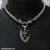 Big Bold Luxurious King of Wolves Stainless Steel Snarling Wolf Head Viking Braid Chain Necklace with Large Snarling Fenrir Wolf Pendant