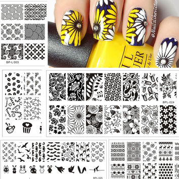 2016 Born Pretty Nail Stamping Plates Lace Flower Animal Pattern Nail Art Stamp Stamping Template Image Plate Stencil Nails Tool