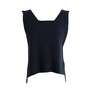 Fall Loose Sleeveless V neck Knitted Vest Women Cropped Sweater All-match Pullover Full  SM6