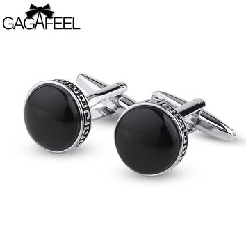 Men's Cuff Links Stone Round Sharp For Shirts Tie Clip Black Color Copper Metal Gift