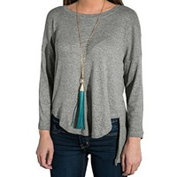 Women's Long Sleeve Casual Round Neck Long Before Short Back Sweater Top Shirt